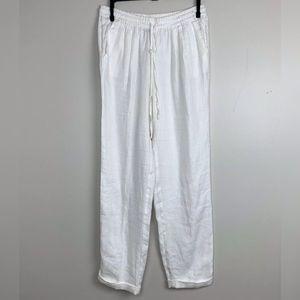 J Crew linen drapey drawstring pant white sz 4